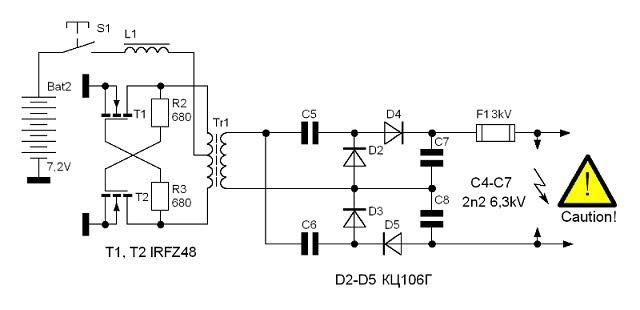 Мощный электрошокер своими руками инструкция картинки